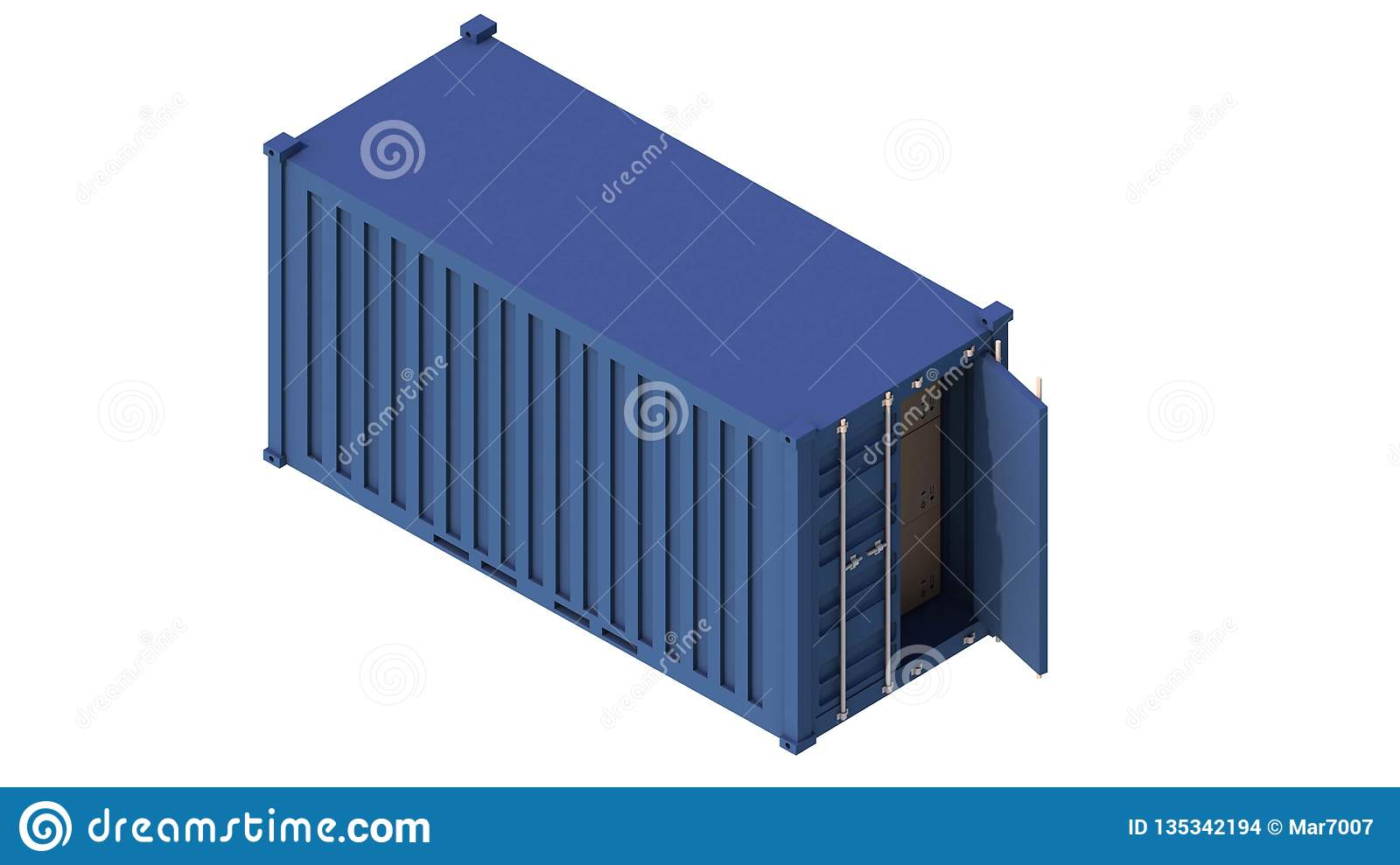 Cargo intermodal isometric 3d container delivery. Freight industry, export, industrial storage goods, import heavy