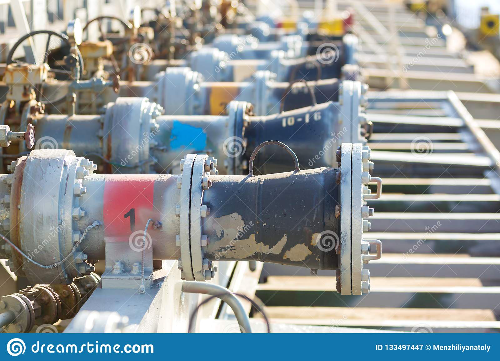 Cargo Manifolds Valves Of An Oil Product Tanker  Stock Image