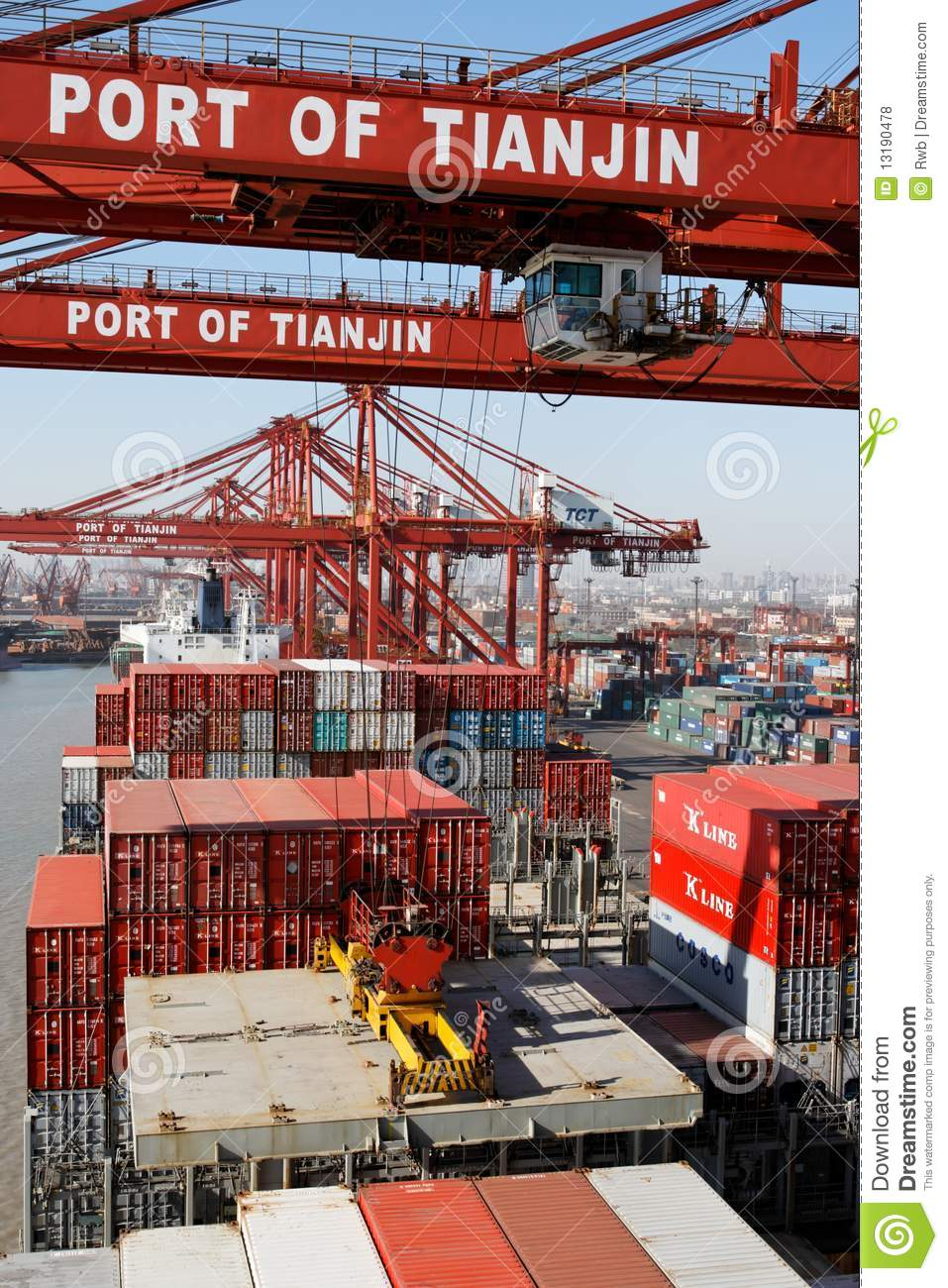 Cargo operations on a container ship in China