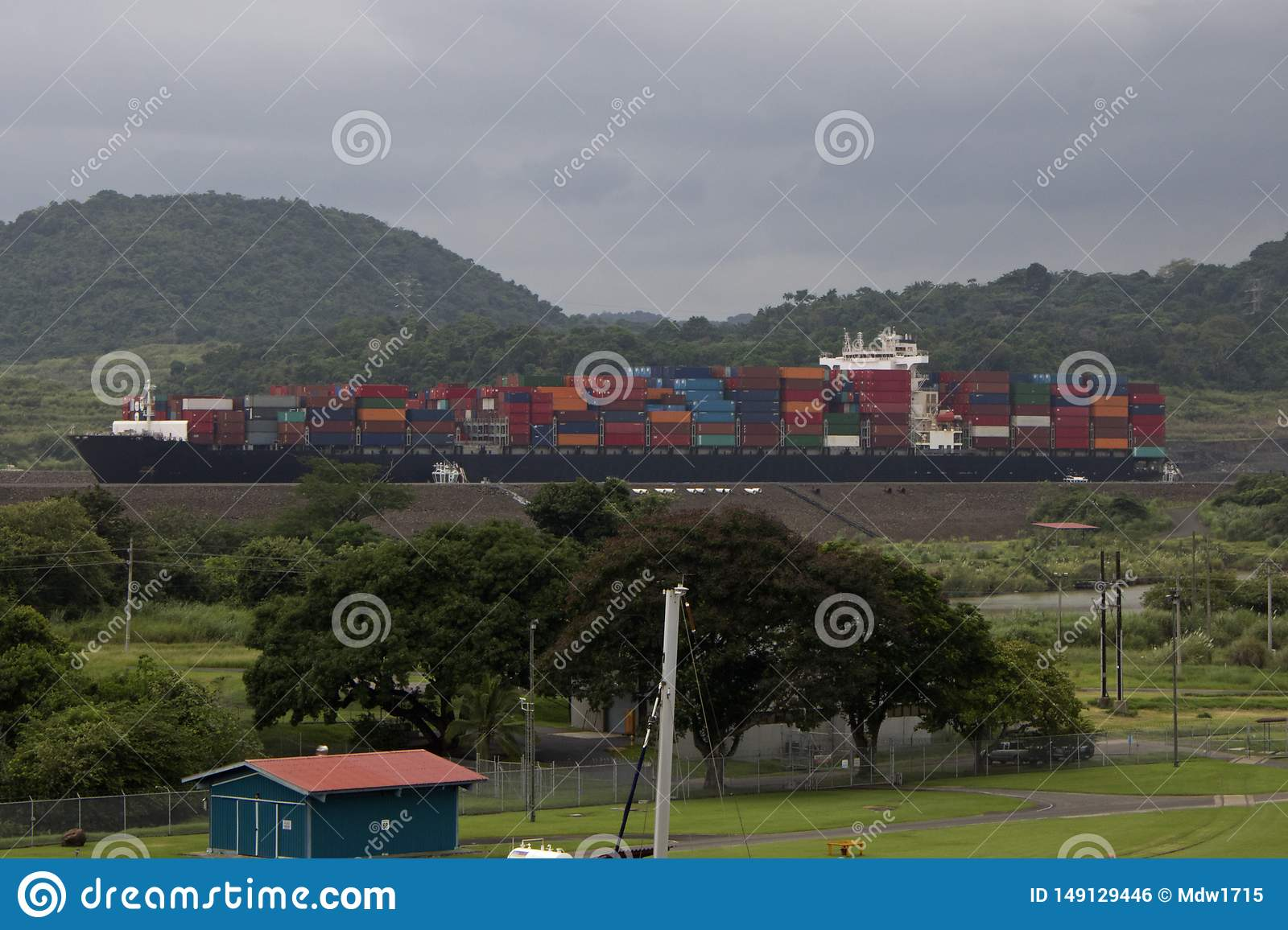 Cargo Passes Through the Panama Canal on a Massive Container Ship