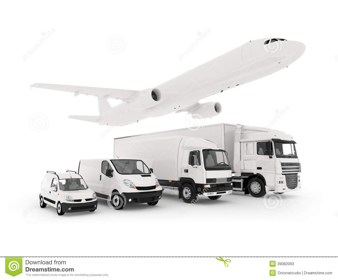 Cargo Plane Truck Lorry And A Delivery Cars Stock