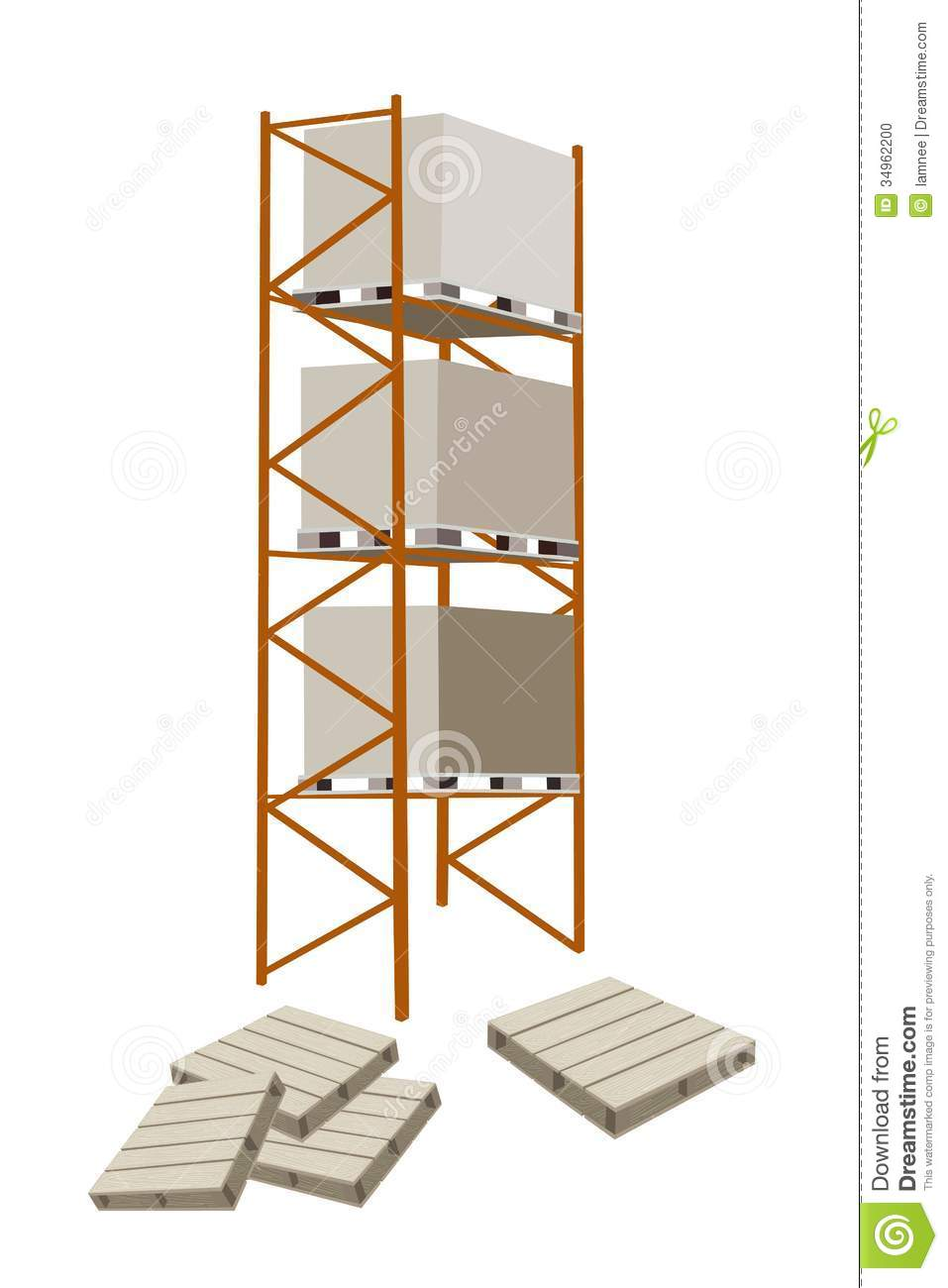Cargo Shelf With Shipping Box And Pallet Stock Photo - Image: 34962200