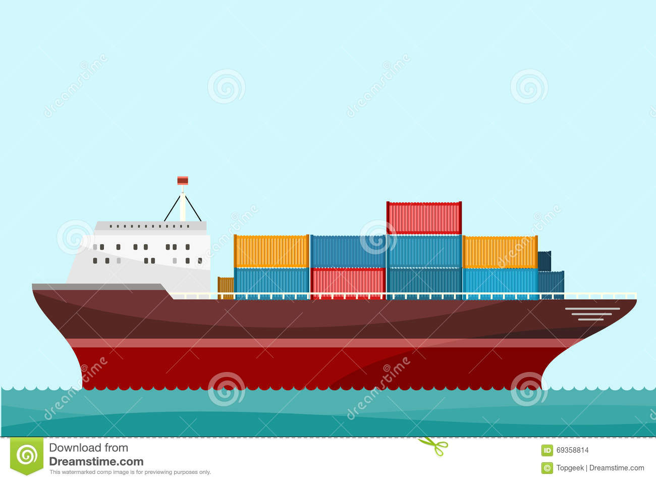 cargo ship containers shipping stock vector illustration of large deck 69358814. Black Bedroom Furniture Sets. Home Design Ideas