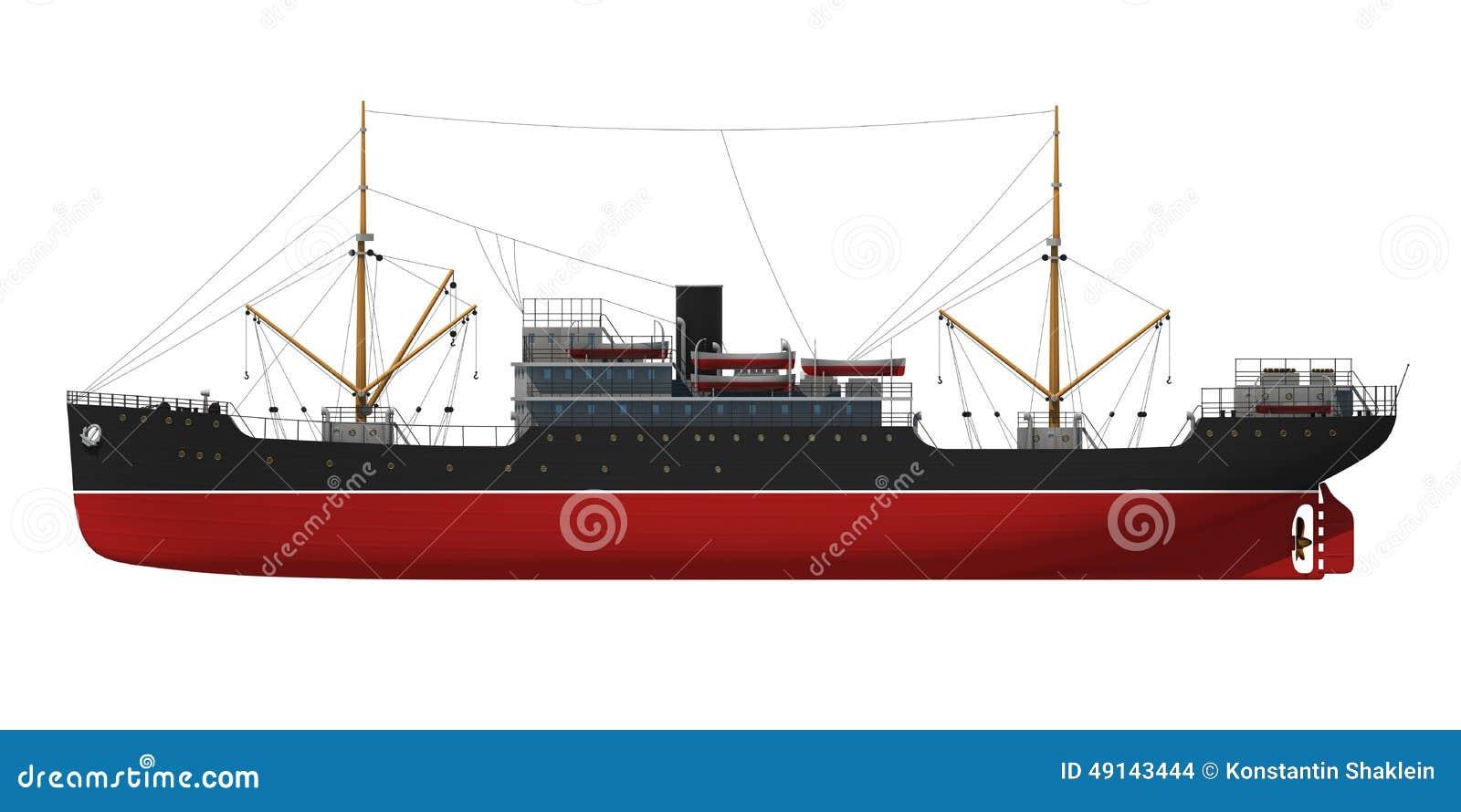 Cargo Ship Stock Illustration - Image: 49143444