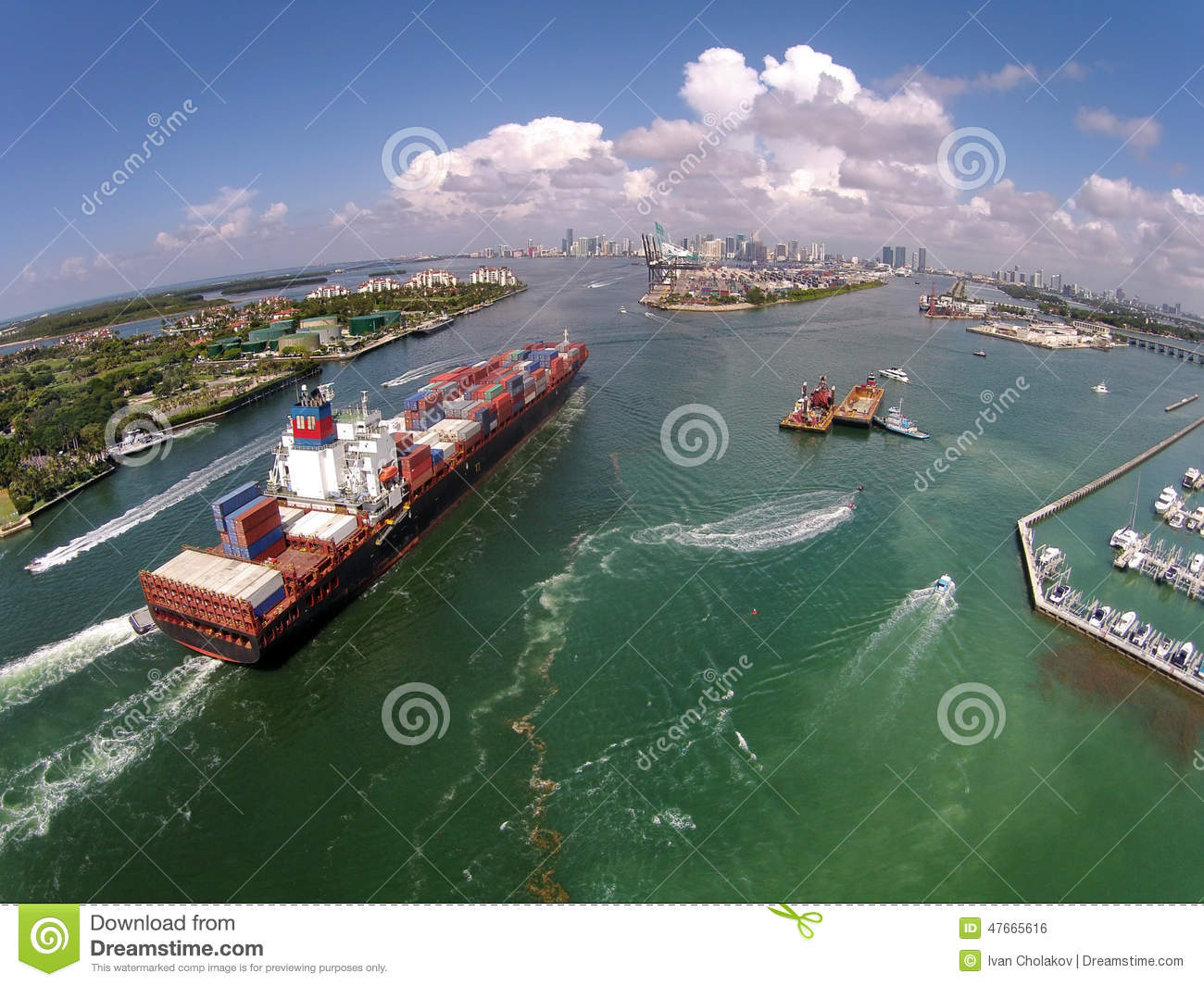 Cargo Ship Enters Port Aerial View Stock Photo Image 47665616