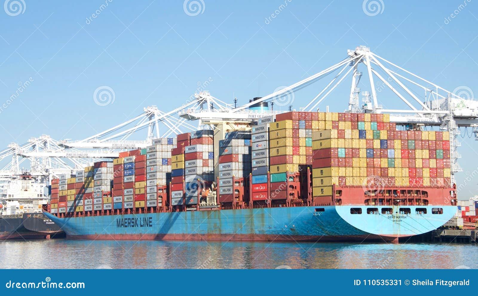Cargo Ship GERD MAERSK Loading At The Port Of Oakland
