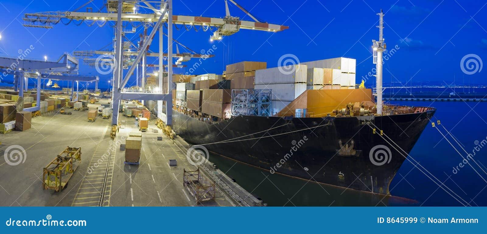 Cargo ship by night