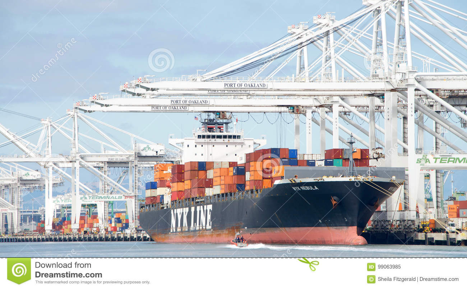 Cargo Ship NYK NEBULA Loading At The Port Of Oakland Editorial Image