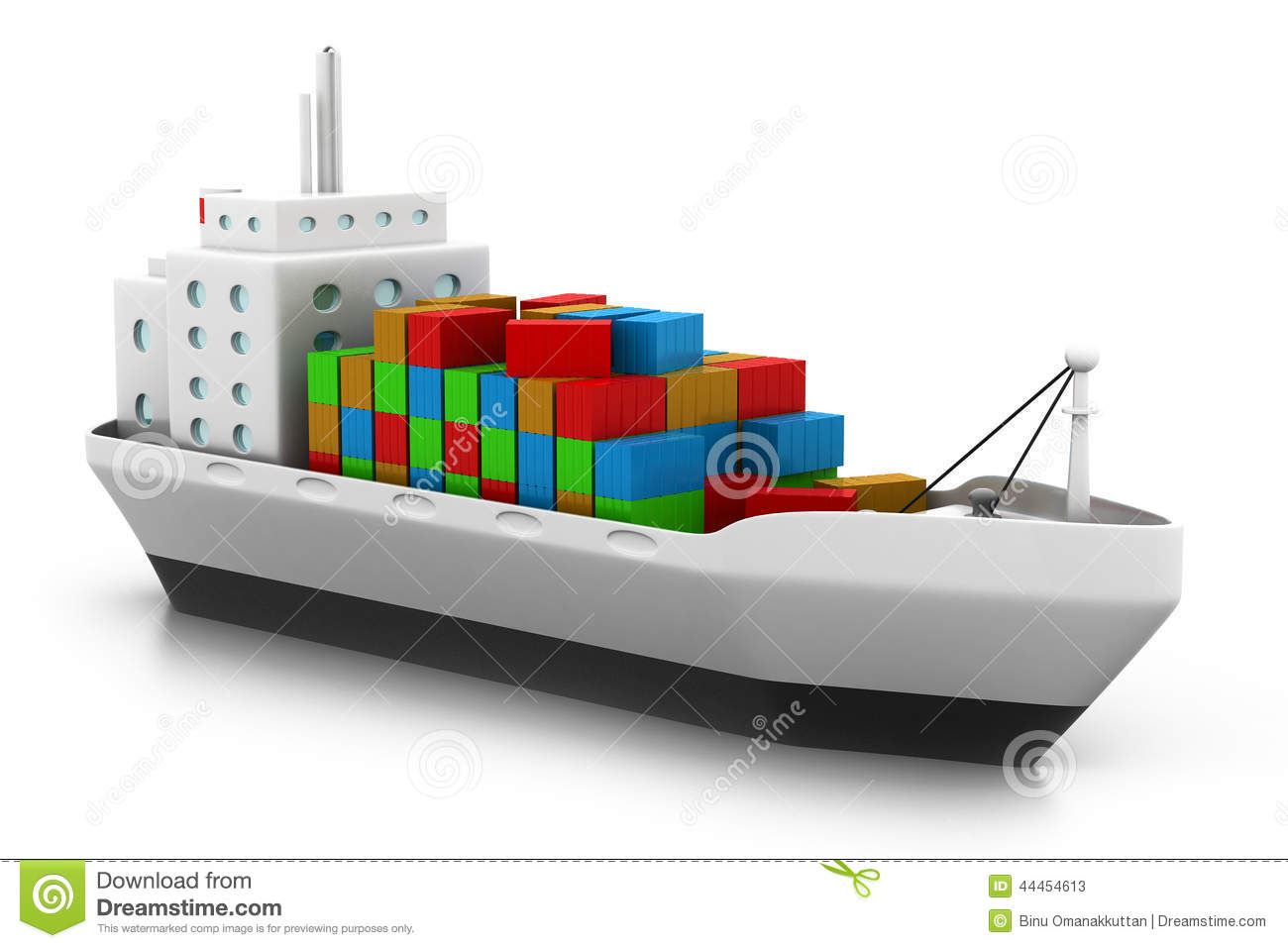 Cargo Ship At The Port Stock Illustration - Image: 44454613