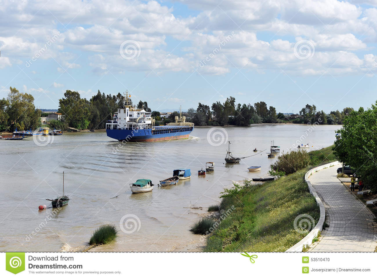 Cargo ship on the river Guadalquivir in its passage through Coria del Río, Sevilla, Andalucía, Spain