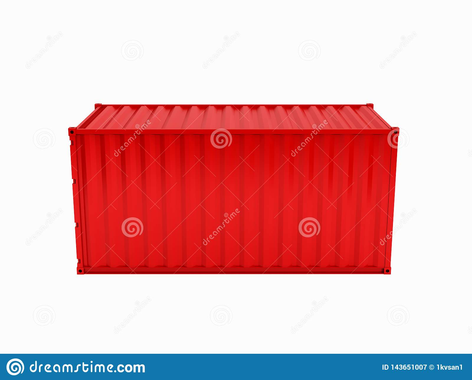 Cargo shipping container without inscription on white background 3d without shadow