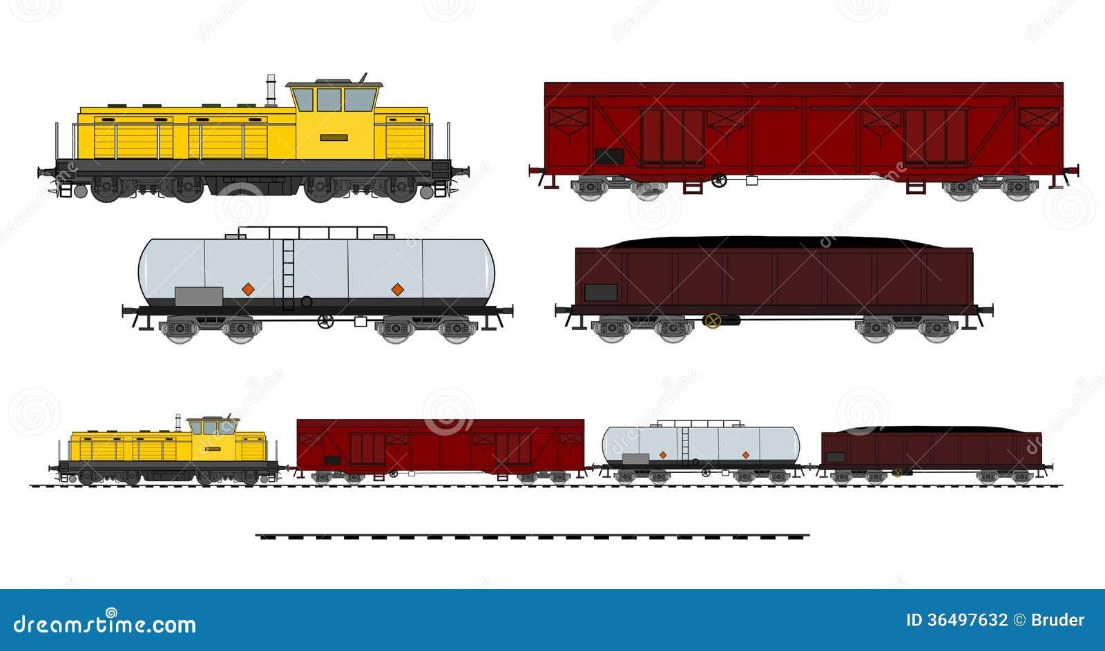 Cargo train stock vector. Image of metal, mining, vector ...