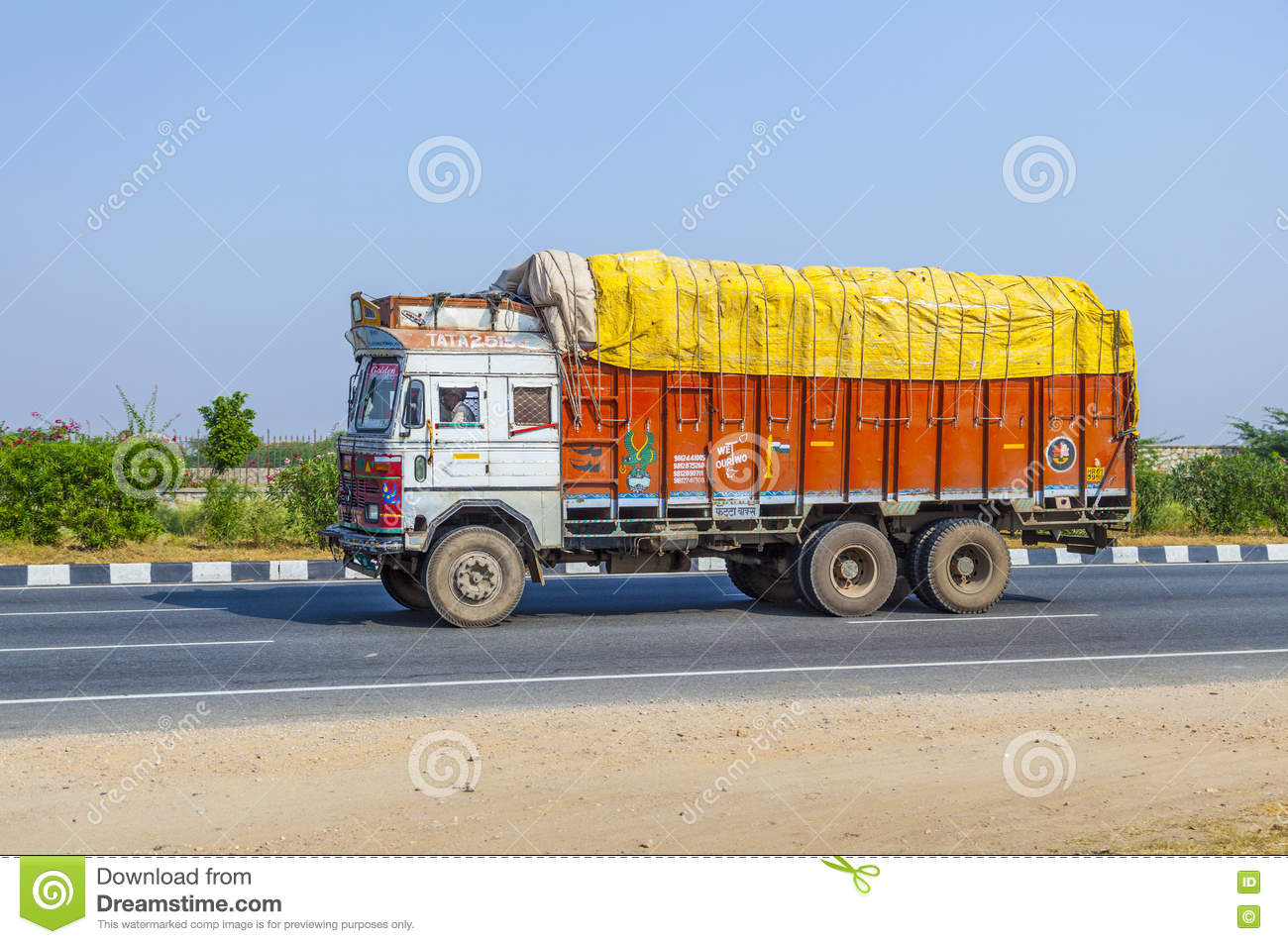 Cargo Transport With Tractor On Country Road Editorial Photo