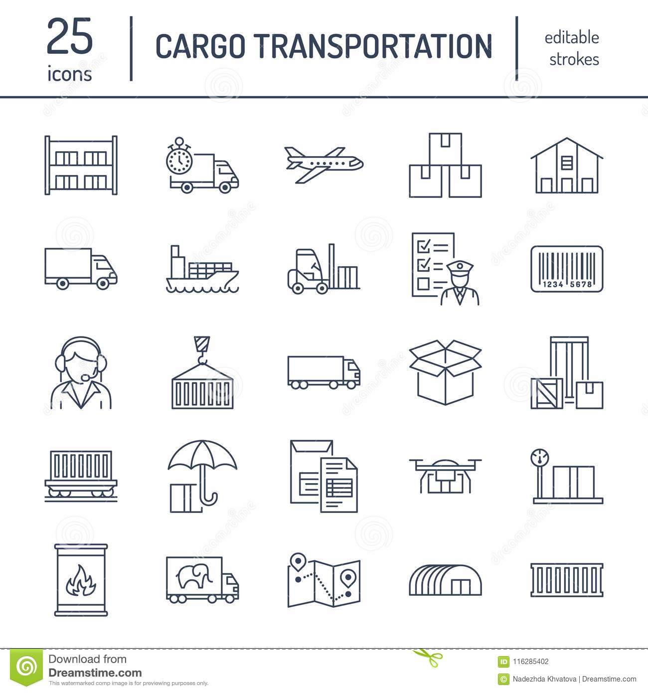 Cargo transportation flat line icons. Trucking, express delivery, logistics, shipping, customs clearance, cargoes