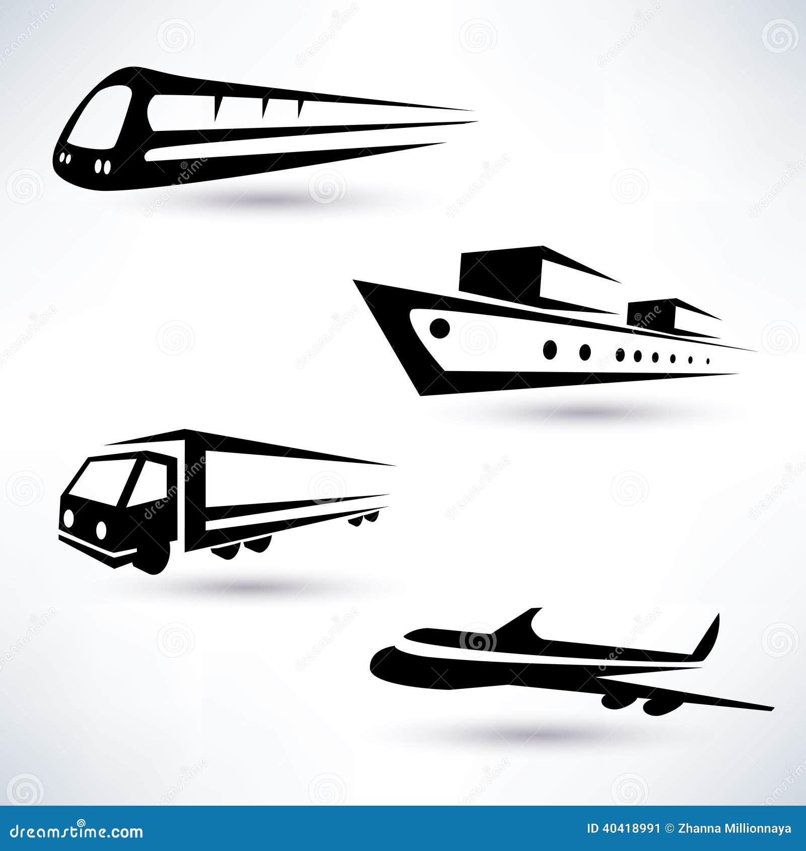 Download Cargo Transportation Icons Set Stock Vector - Illustration of icon, design: 40418991