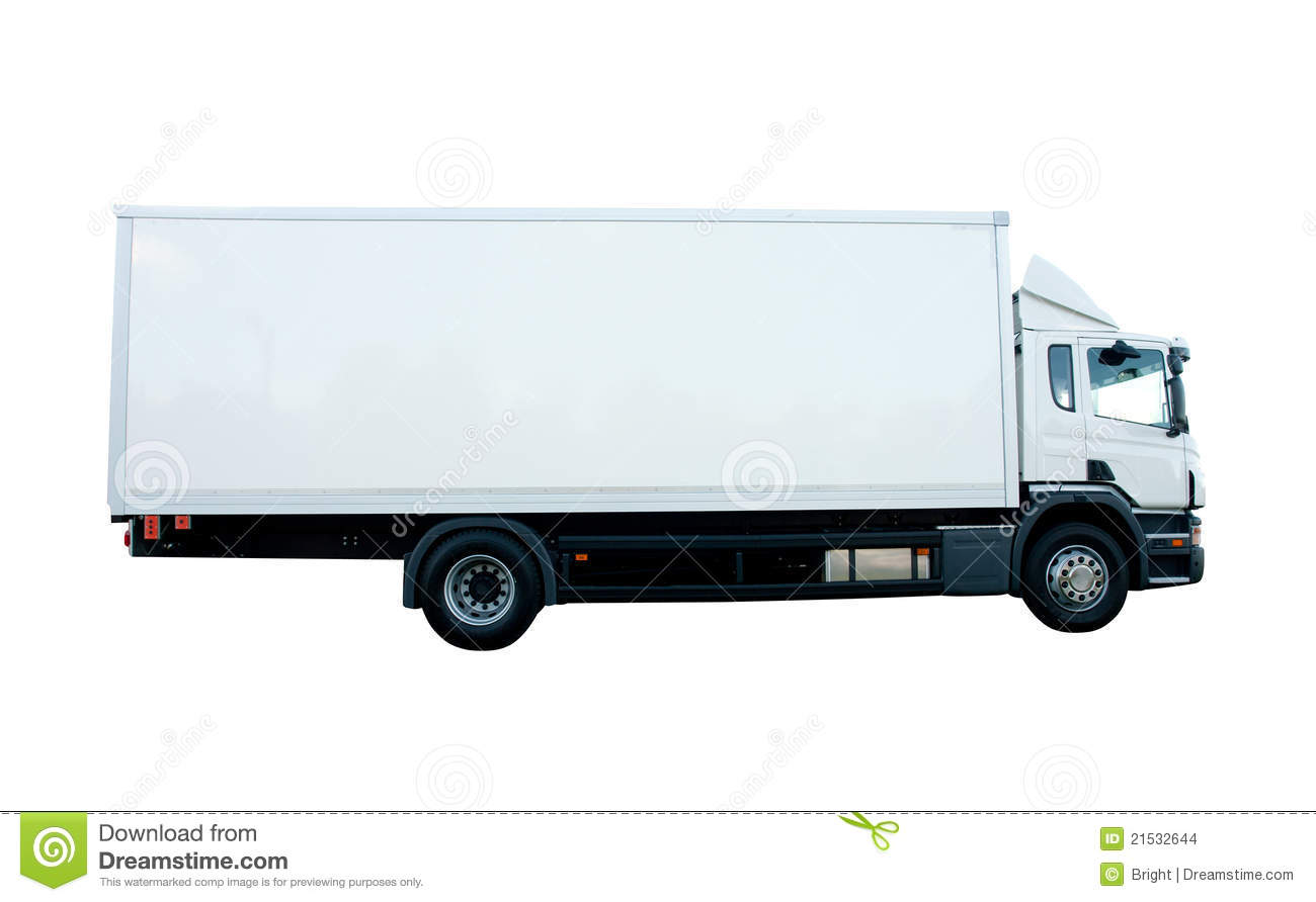 Cargo Truck stock photo. Image of isolated, side, white ...