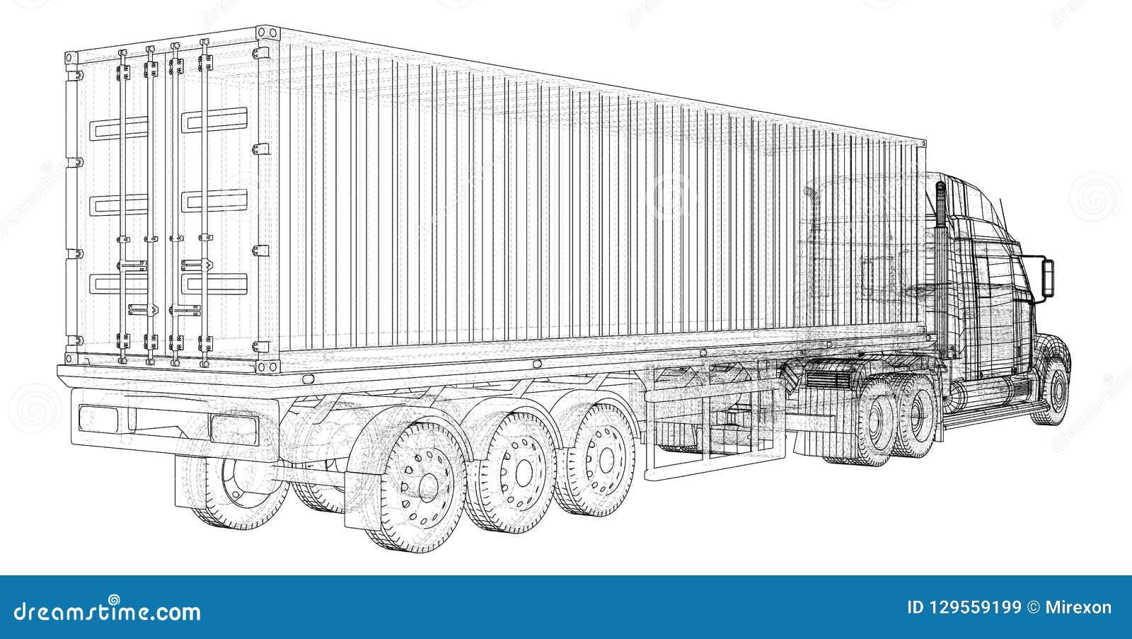 Cargo Truck Trailer. Wire-frame. EPS10 format. Vector rendering of 3d