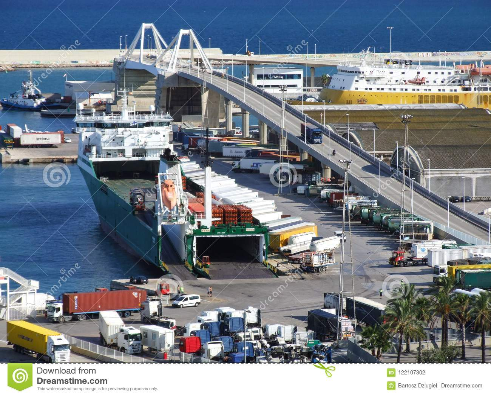 Cargo Seaport Terminal In Barcelona Editorial Photography