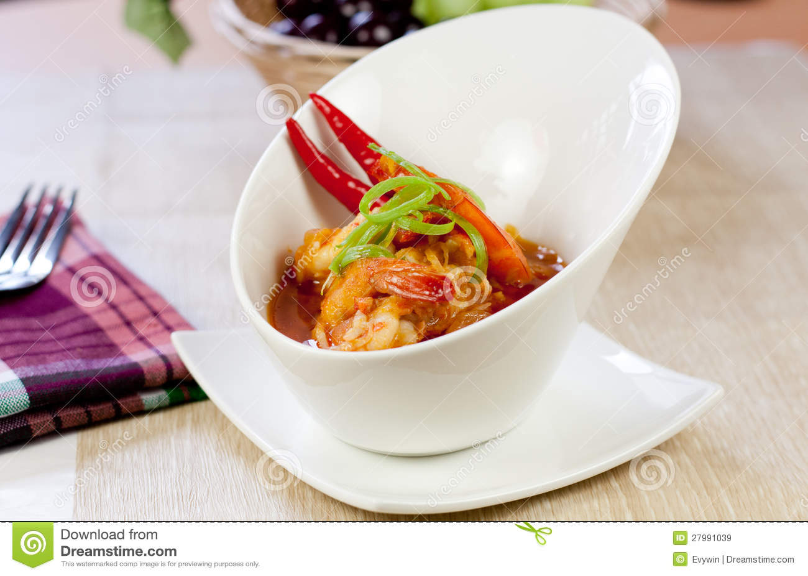Cari asiatique de crevette rose de nourriture