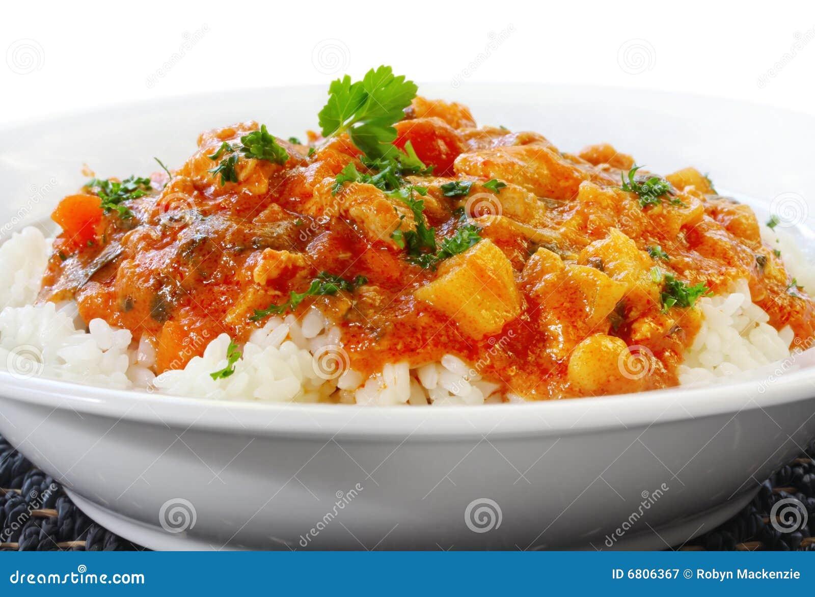 Cari et riz de poulet