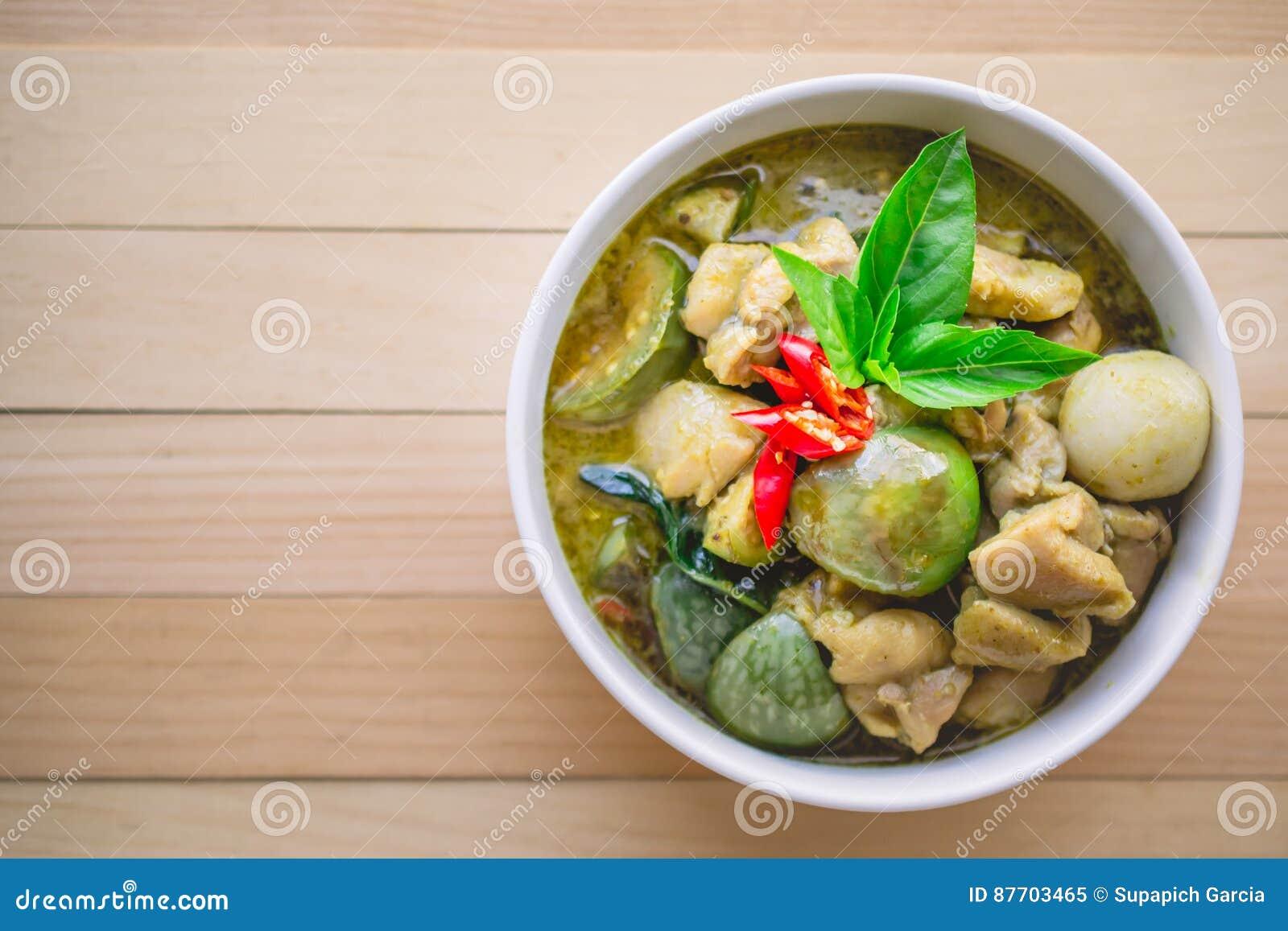 Cari thaï de vert de poulet Nourriture thaïlandaise célèbre de tradition avec la copie S