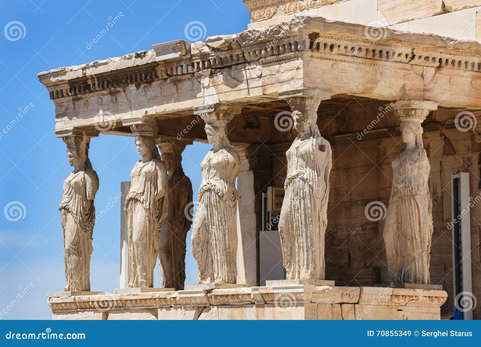 Cariatides au porche de l Erechtheion, Acropole