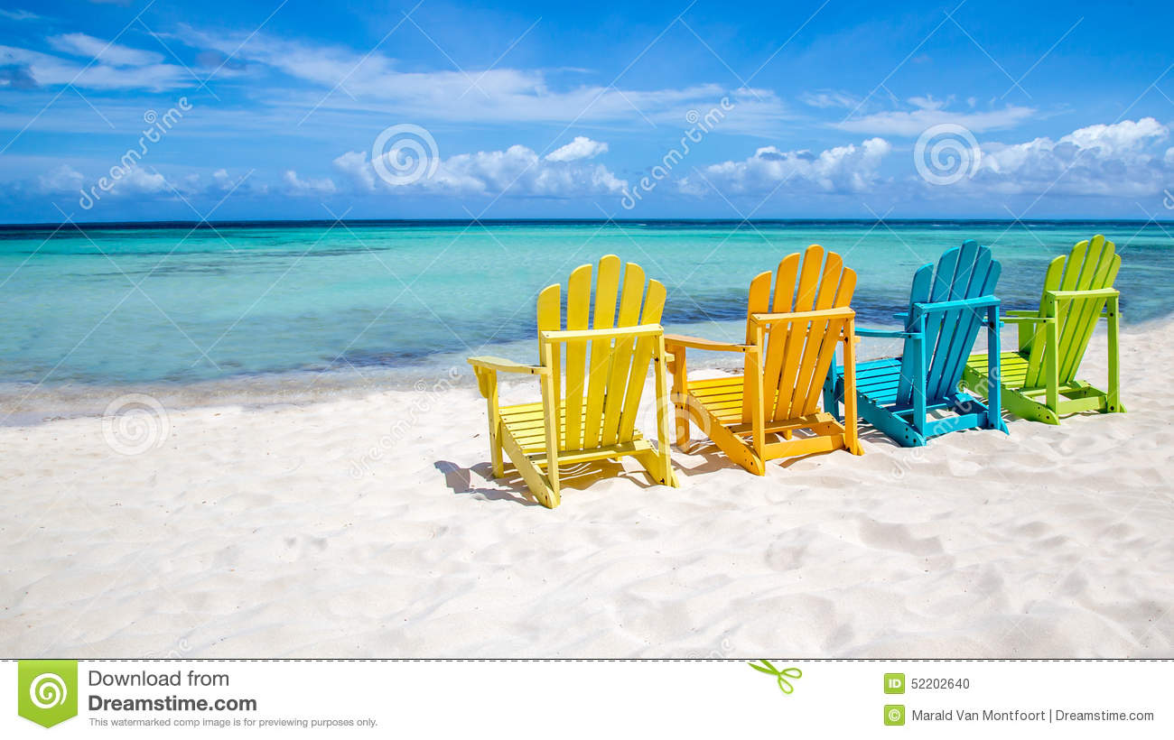 Wooden beach chair back - Caribbean Chairs Colorful Scene Set Wooden