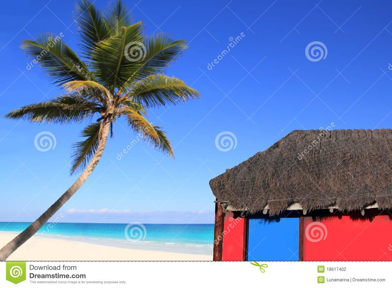Caribbean coconut palm tree and red hut cabin