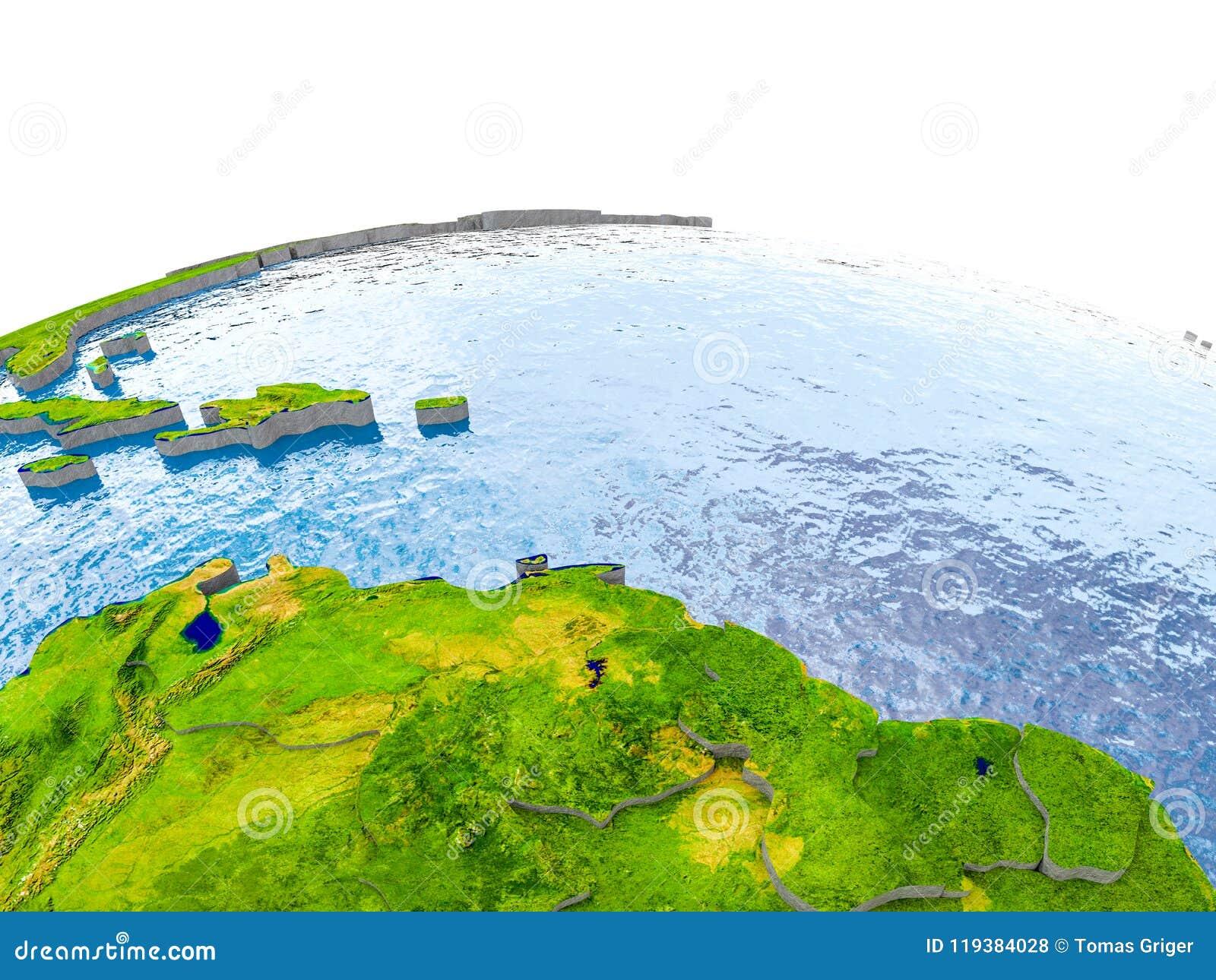 Caribbean on model of Earth