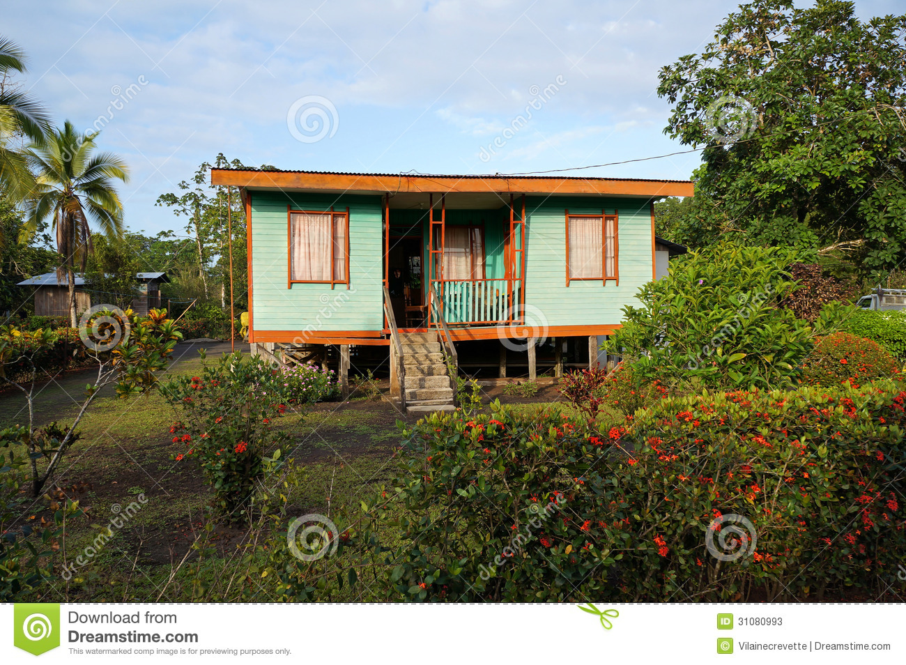 Caribbean house in costa rica stock photos image 31080993 for Costa rica house plans
