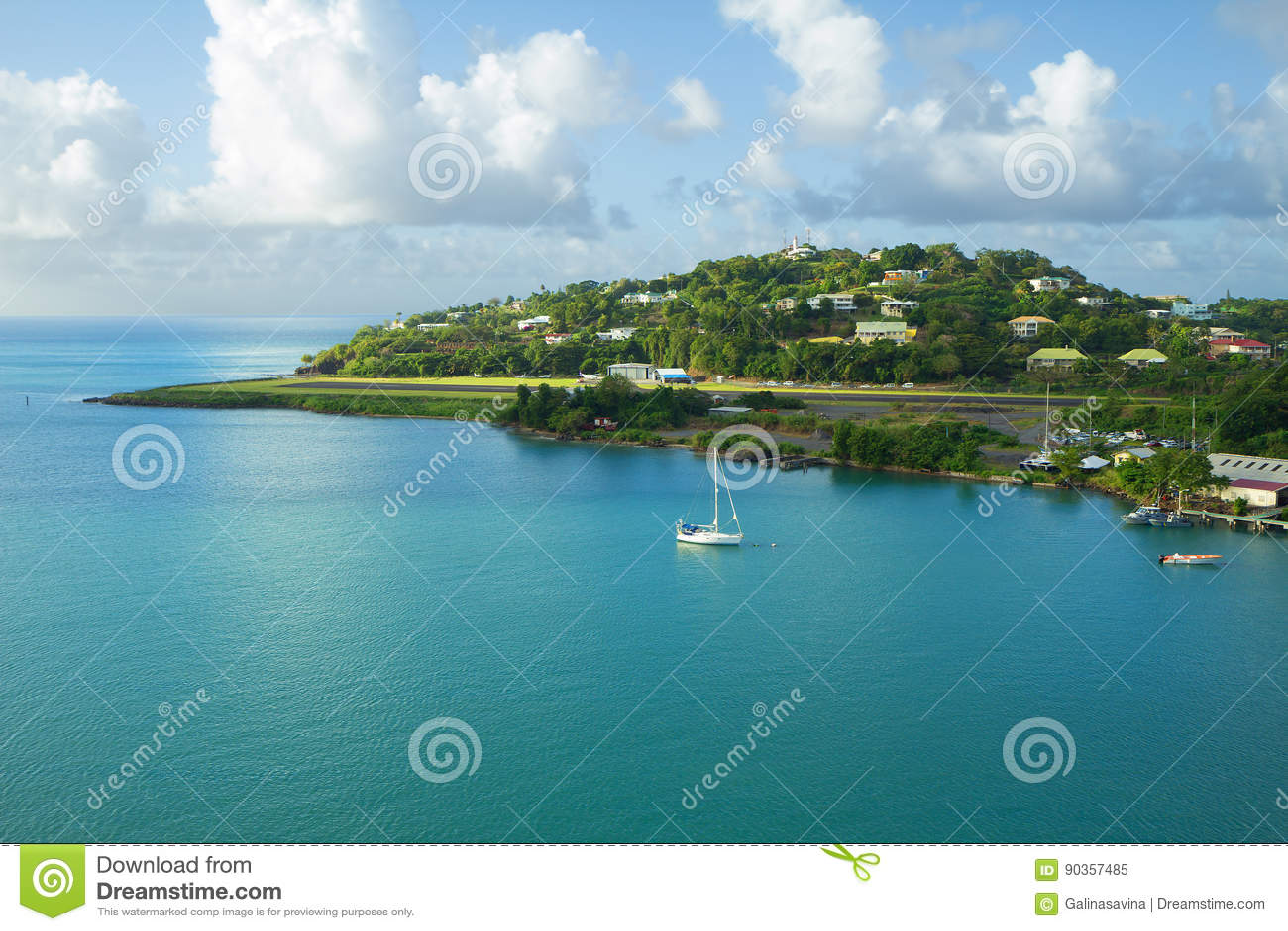 Landing strip island