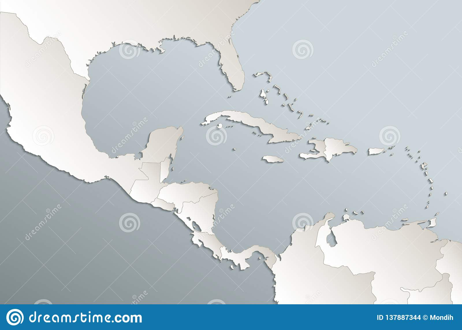 Caribbean Islands Central America Map Card Blue White 3D ...