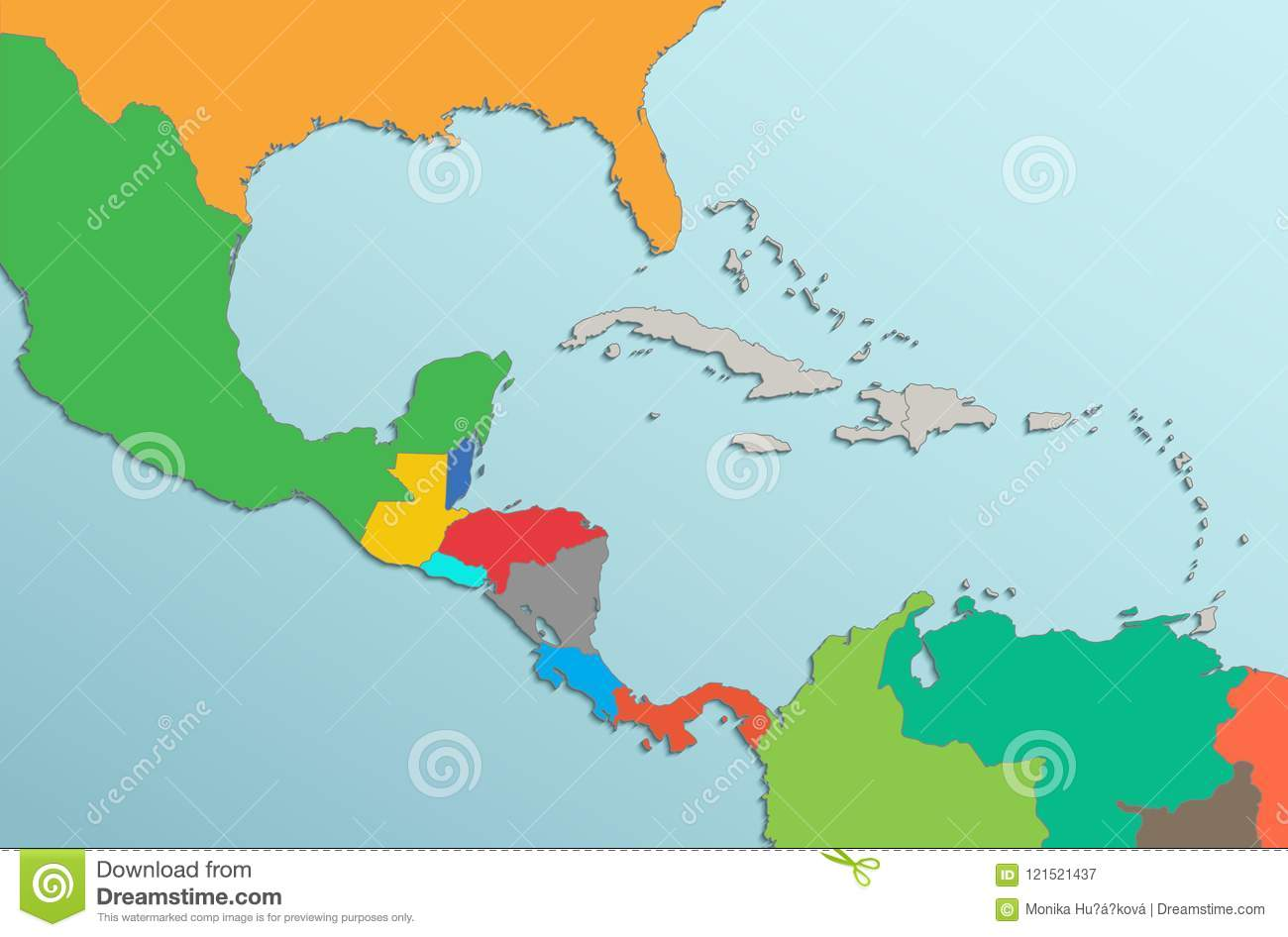 Caribbean Islands Central America Map Card Colors 3d Stock Vector