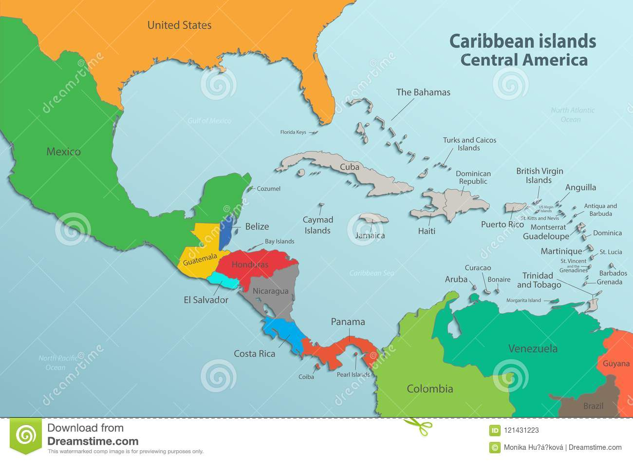 Caribbean Islands Central America Map Card Colors 3D Stock ... on usa and central american map, american and central american map, southern and central american map,