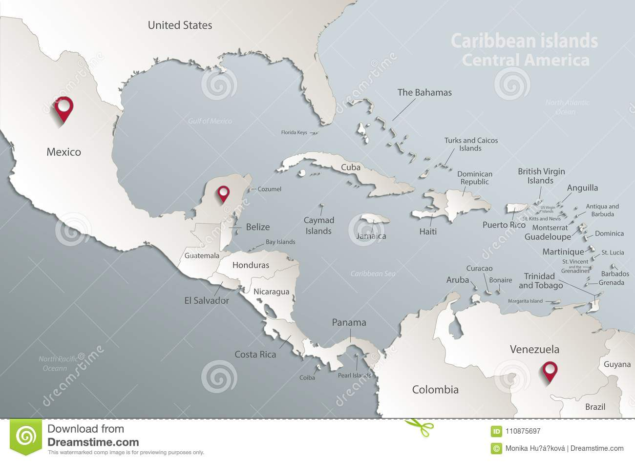 Caribbean Islands Central America Map Card Blue White 3D Stock ...