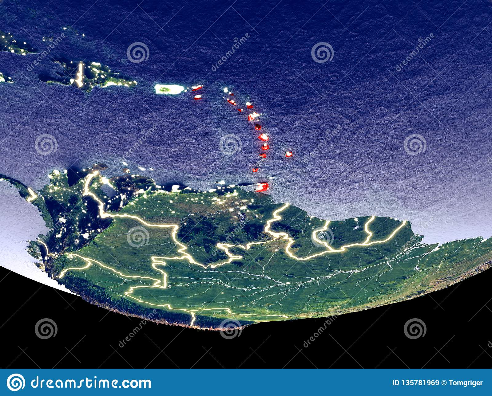 Caribbean at night from space