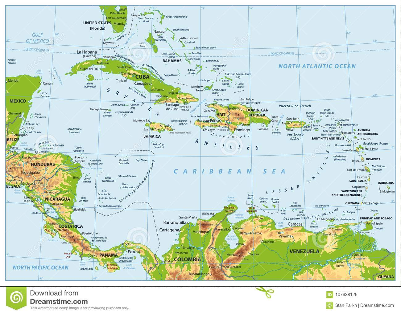 The Caribbean Physical Map. No Bathymetry Stock Vector ... on map of s america and caribbean, time zone map of caribbean, satellite map of caribbean, large map of the caribbean, political map of caribbean, world map caribbean, map of middle america and caribbean, geography of caribbean, color map of caribbean, elevation of caribbean, full map of caribbean, topographic map of caribbean, educational map of caribbean, outline map of caribbean, relief map of caribbean, blank map of caribbean, culture of caribbean, population density map of caribbean, map of of caribbean, physical features of caribbean islands,
