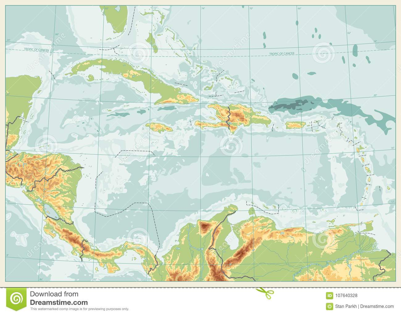 The Caribbean Physical Map. Retro Colors. No Text Stock Vector ... on map of s america and caribbean, time zone map of caribbean, satellite map of caribbean, large map of the caribbean, political map of caribbean, world map caribbean, map of middle america and caribbean, geography of caribbean, color map of caribbean, elevation of caribbean, full map of caribbean, topographic map of caribbean, educational map of caribbean, outline map of caribbean, relief map of caribbean, blank map of caribbean, culture of caribbean, population density map of caribbean, map of of caribbean, physical features of caribbean islands,