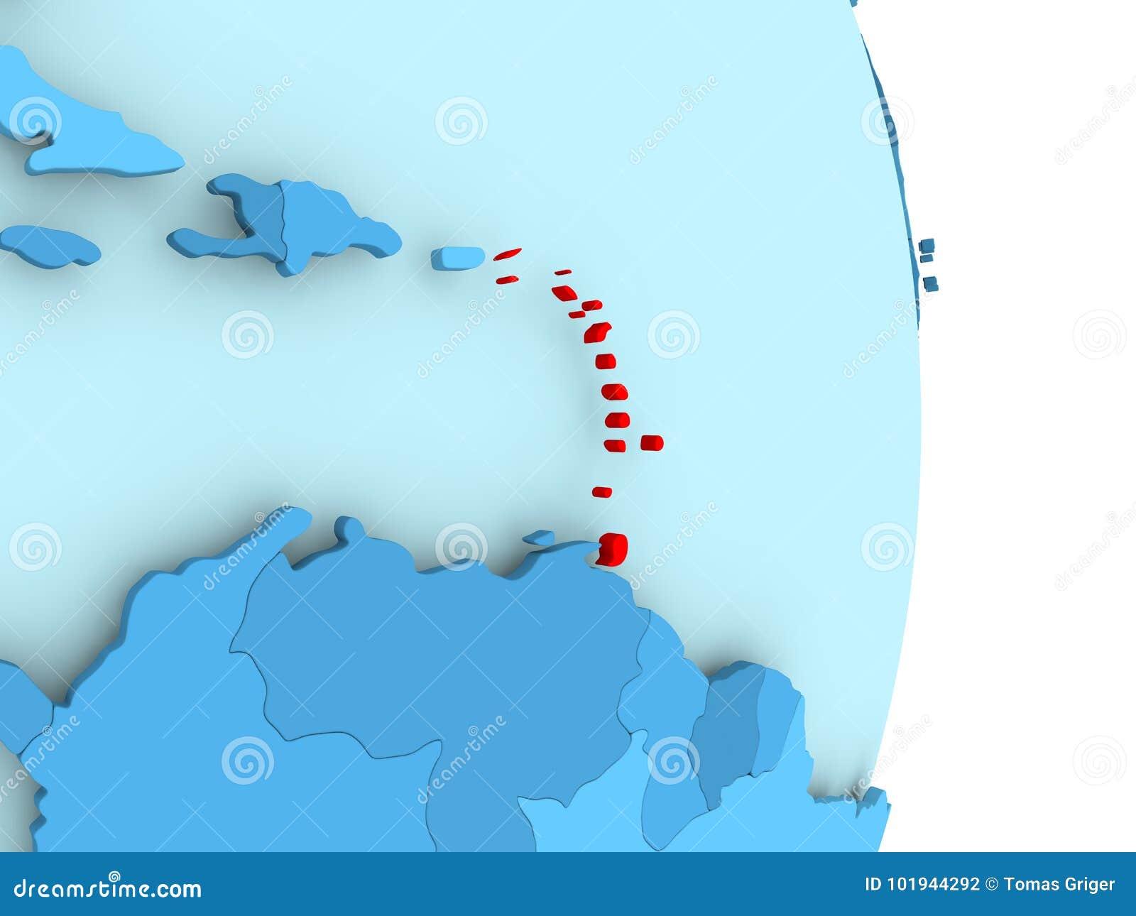 Map of Caribbean in red stock illustration. Illustration of globe ...