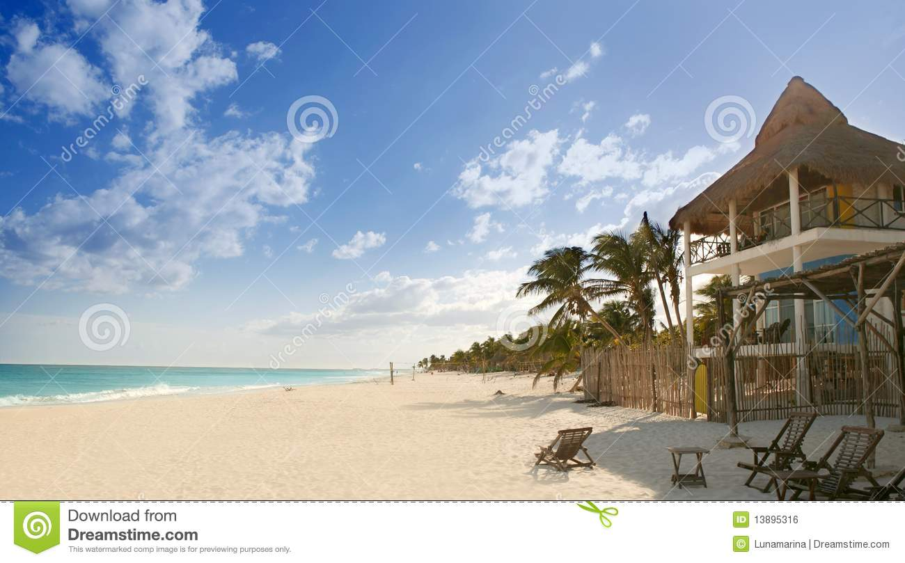 Caribbean Sand Beach Tropical Houses In Mexico Royalty Free Stock