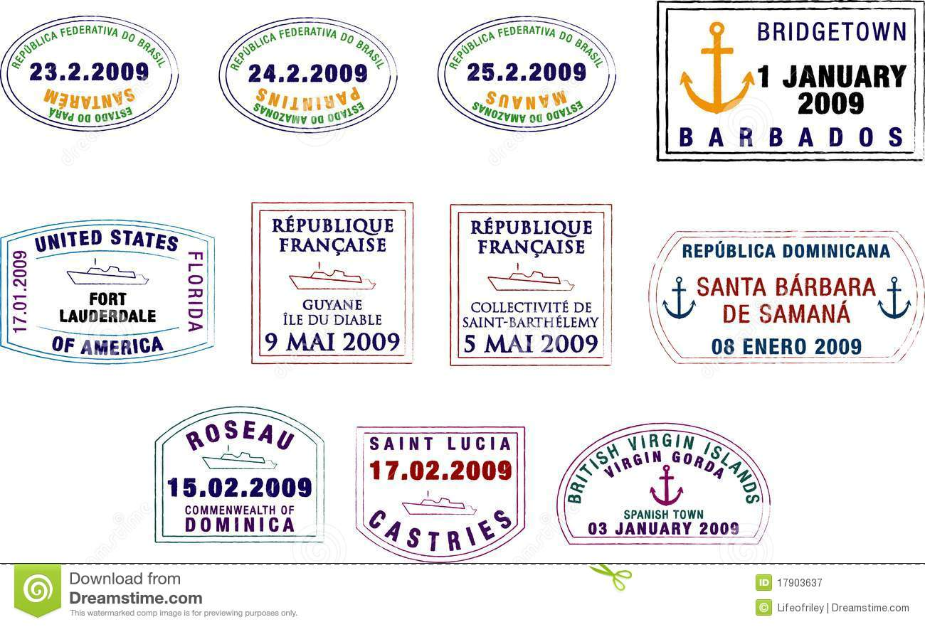 Caribbean And South American Passport Stamps Royalty Free