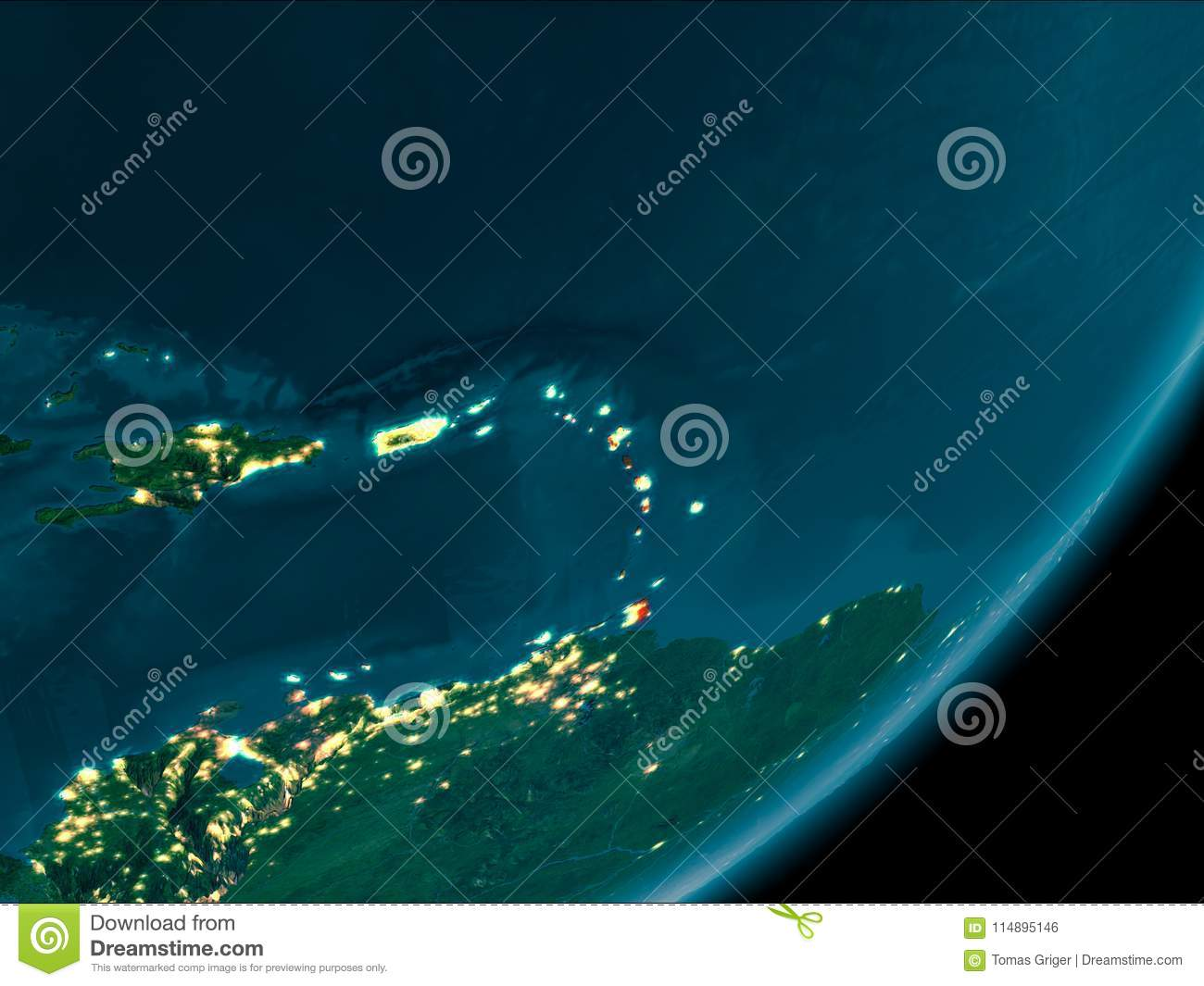 Caribbean from space at night