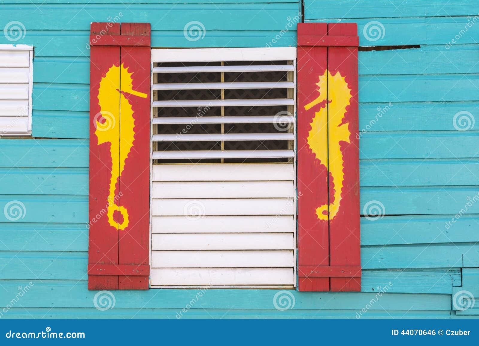Caribbean Style Window With Sea Horse Design Stock Photo