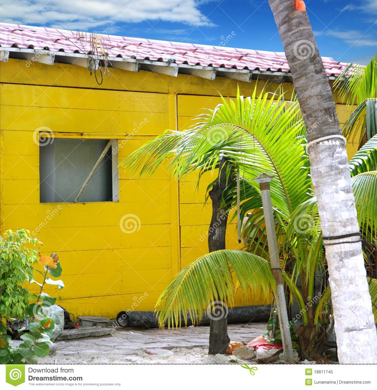 Caribbean Tropical Yellow Beach Wooden House Royalty Free