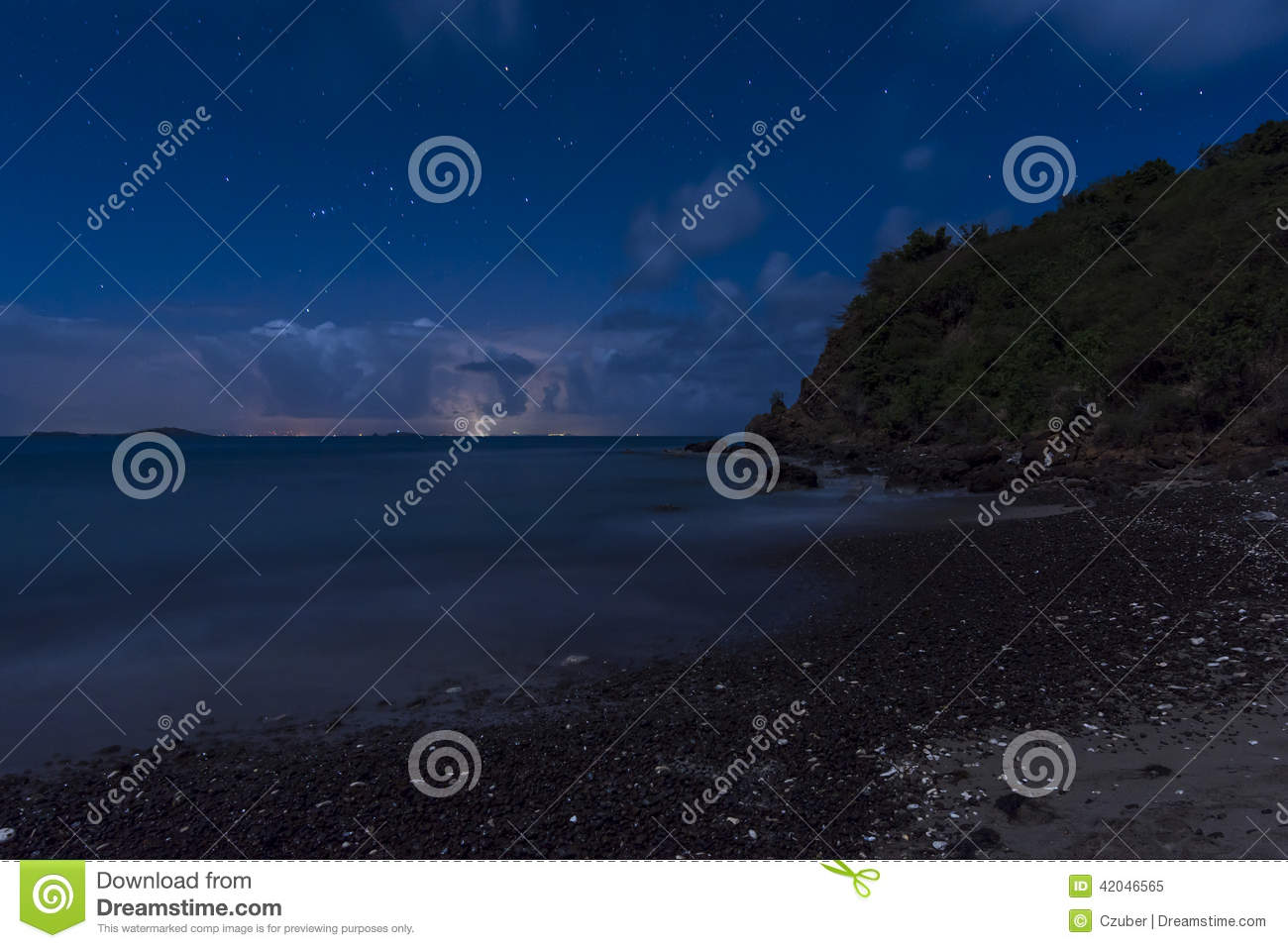 Beautiful Starry Night Sky On Beach Of Tropical Island Culebra With Puerto Rico In Distance