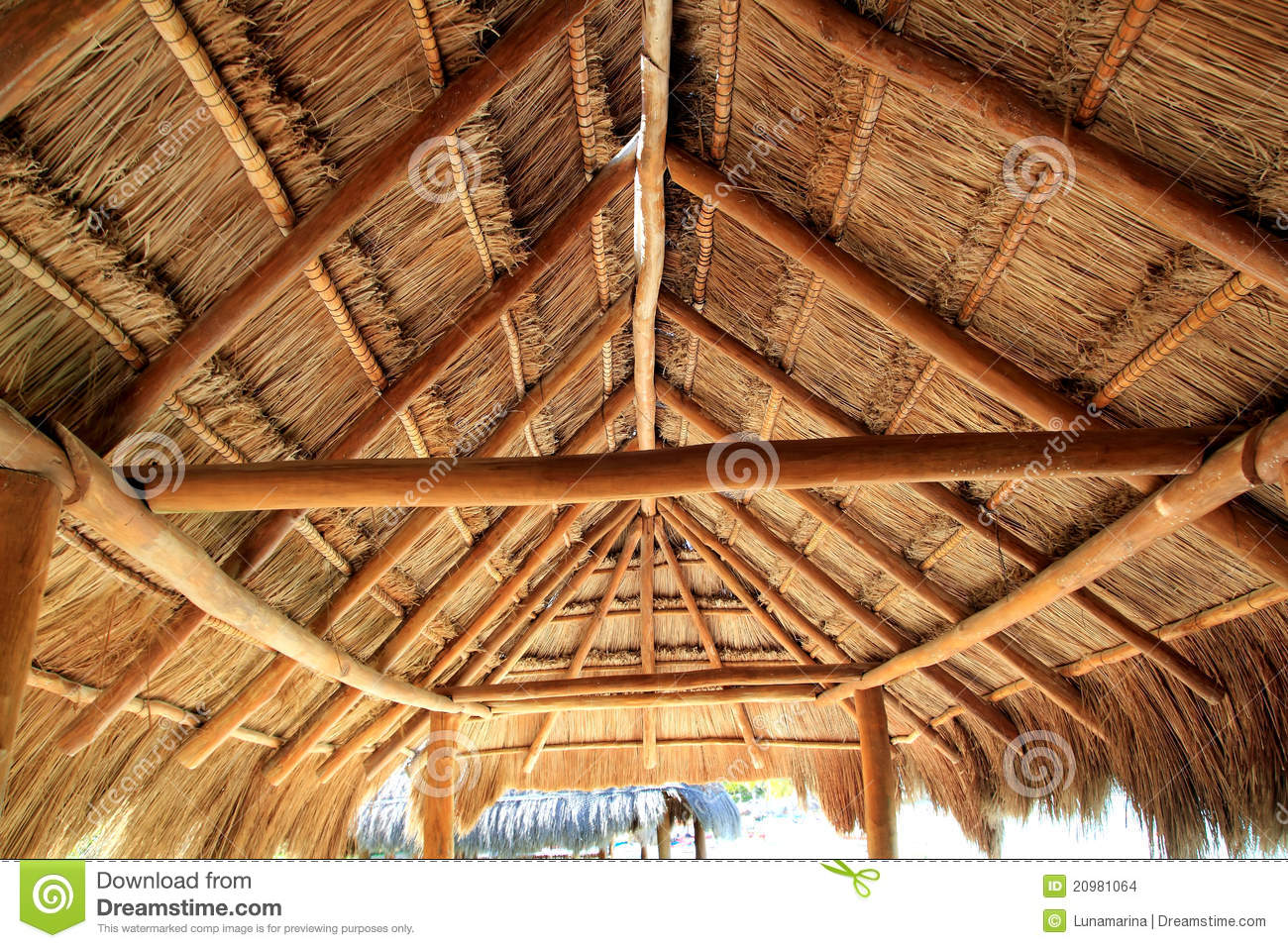 Caribbean Wooden Sun Roof Palapa Stock Photo Image Of