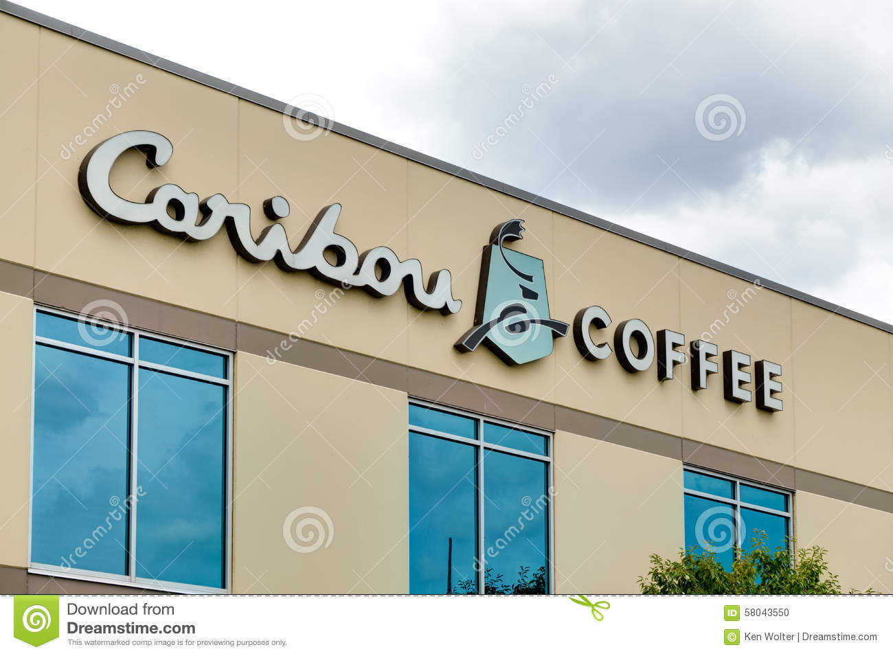 caribou coffee corporate headquarters and logo editorial
