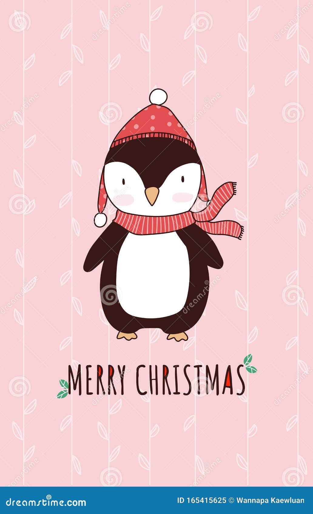 Caricatura De Animales De Navidad Tierno Personaje De Vector Pingüino Para  Tarjeta De Saludo Ilustración del Vector - Ilustración de bebé, antártida:  165415625