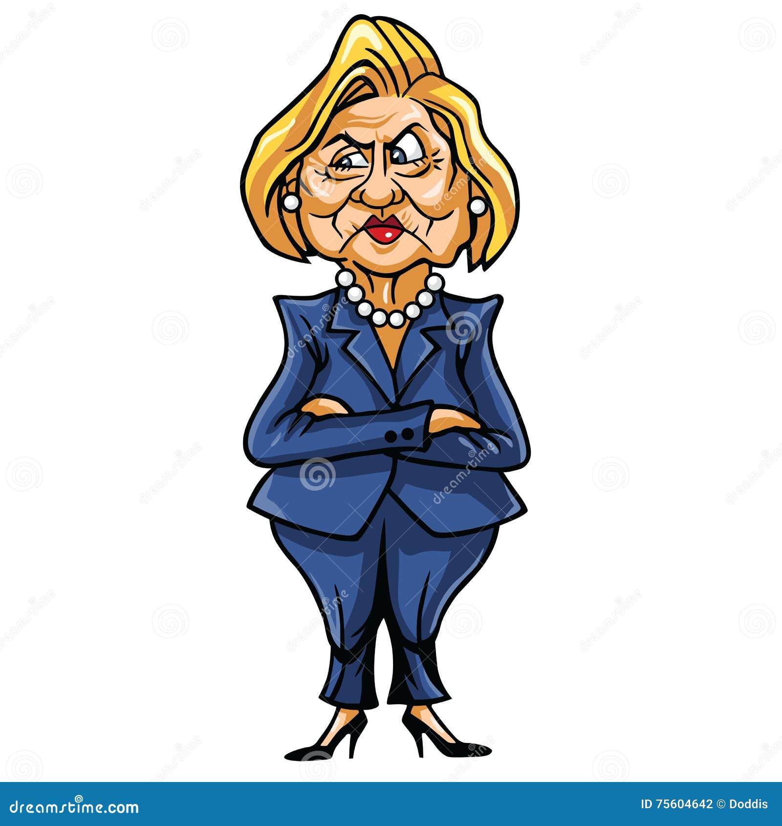 Caricatura de Hillary Clinton, candidato demócrata a la presidencia de Estados Unidos