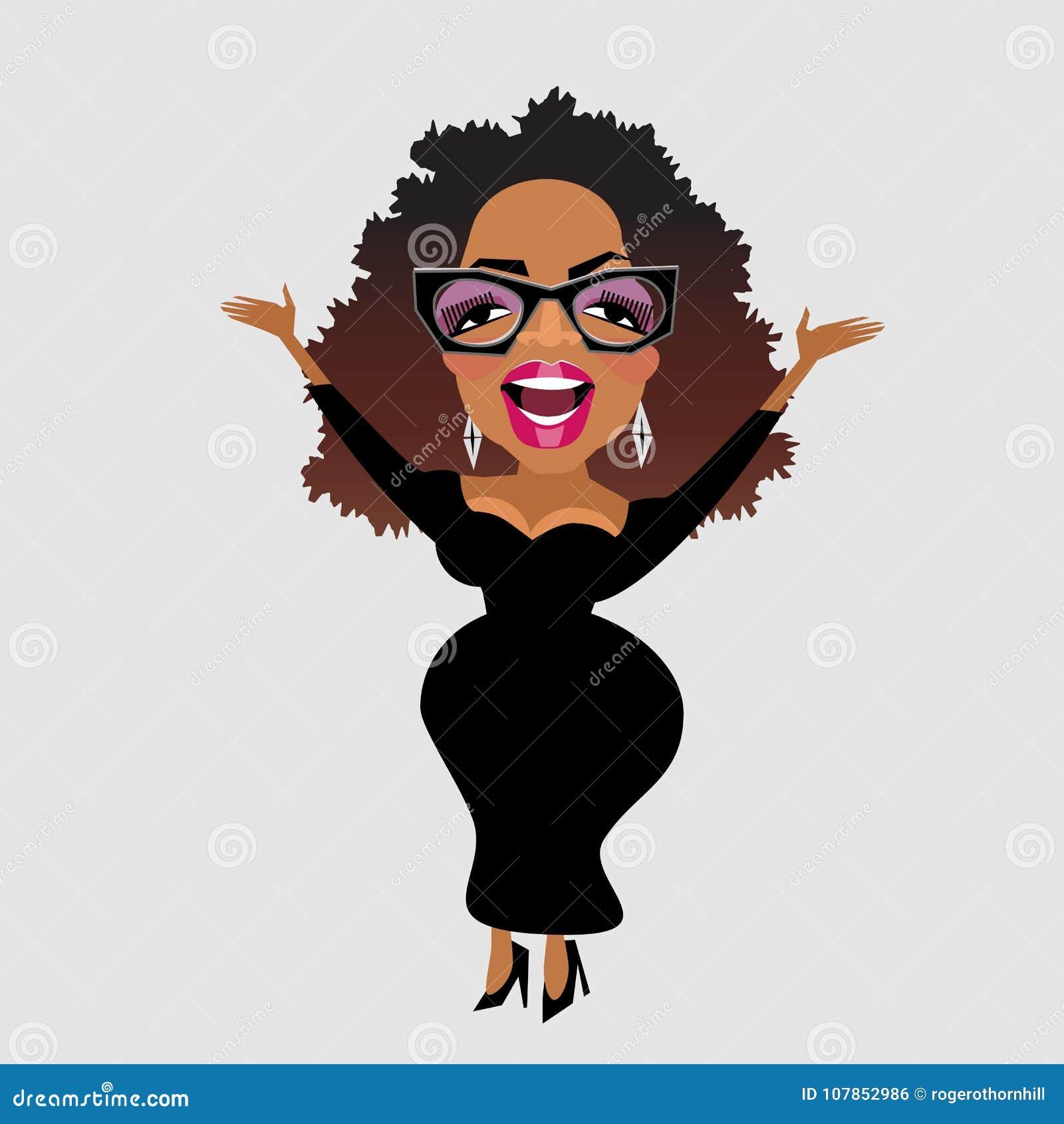 Caricatura de la celebridad Oprah Winfrey